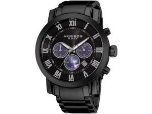 Akribos XXIV Men's 47mm Chronograph Black Steel Bracelet & Case Watch AK622BK