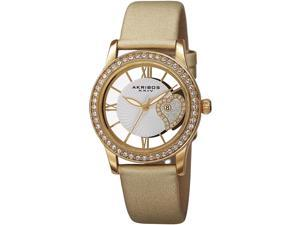 AKRIBOS XXIV WOMEN'S 34MM GOLD-TONE SATIN BAND METAL CASE QUARTZ WATCH AK811YG