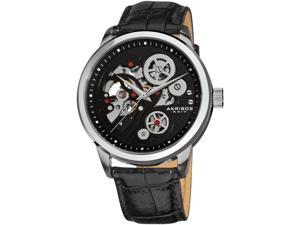 Akribos XXIV Men's 44mm Black Calfskin Stainless Steel Case Watch AK538BK