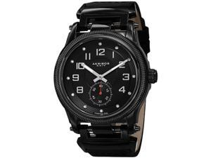 Akribos XXIV Men's 45mm Black Calfskin Metal Case Quartz Watch AK815BK