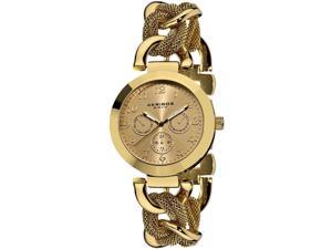 Akribos XXIV Women's 38mm Gold Tone Steel Bracelet Metal Case Date Watch AK564YG