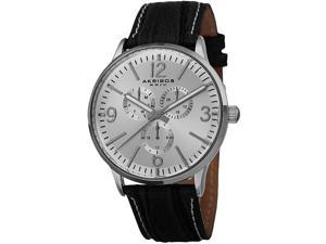 Akribos XXIV Men's 43mm Black Calfskin Metal Case Quartz Date Watch AK769WT