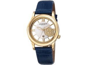 Akribos XXIV Women's 34mm Blue Calfskin Metal Case Quartz Date Watch AK837BU