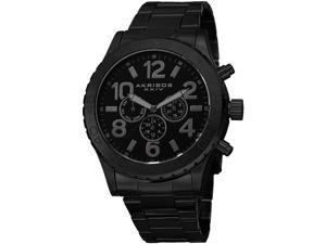 Akribos XXIV Men's 49.5mm Black Steel Bracelet Metal Case Quartz Watch AK763BK