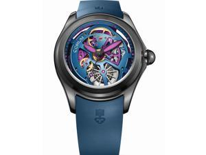 CORUM MEN'S BUBBLE 47 SKELETON 47MM BLUE AUTOMATIC WATCH 082.400.98/0373 SQ15