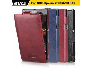 IMUCA Leather Case for Sony Xperia Z C6602 C6603 L36h Cover Pouch luxury verticl Flip phone cases for sony xperia z C6603 cover