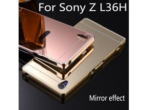Luxury Aluminum Metal Hybrid case for Sony Xperia Z L36H C6603 Hard Mirror Protective Back Cover For Sony Z L36H phone shell