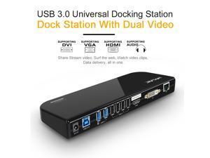 Wavlink USB 3.0 Universal Laptop Docking Station, Dual Video Display HDMI & DVI/VGA to 2048x1152, Gigabit Ethernet, Audio, 6 ...