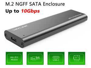 Wavlink USB-C M.2 NGFF SATA Enclosure , USB 3.1 Type-c GEN 2 M.2 SSD Enclosure, Up to 10Gbps, 2 USB Cable (USB C to USB A Cable / USB C to USB C Cable ) - Aluminum M.2 SSD Enclosure for USB C & USB A