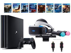 PlayStation VR Deluxe Bundle (12 Items): PS4 Pro 1TB, VR Starter Bundle, and 8 VR Game Discs (Rush of Blood, Valkyrie, Battlezone, Batman, DriveClub, Eagle, RIGS, Resident Evil 7: Biohazard)