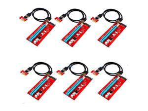 6-Pack Version 7 SATA Powered PCI-E PCI Express Extender Riser Cable- VER 007S - 1X to 16X PCIE USB3.0 Adapter Card w/ 2ft USB Extension Cable - GPU Graphic Card Crypto Currency Mining