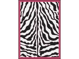 Zebra Glam Pink Passion Black/White Area Rug