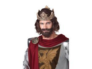 Brown Medieval King Costume Wig Adult One Size