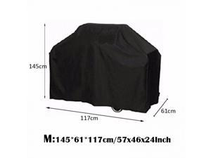 Black Waterproof Bbq Cover Outdoor Rain Barbecue Grill Protector For Gas Charcoal Electric Barbeque Grill[Size: M]