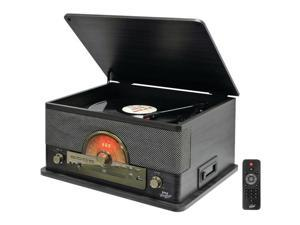 PYLE PRO PTCD56UBGR Retro-Style Bluetooth(R) Turntable with Vinyl to MP3 Recording, CD Player & Cassette Player (Gray)