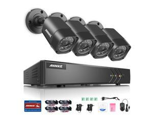 ANNKE 8CH Security System 720P DVR 1080P NVR Video Recorder and (4) 1280TVL Weatherproof Surveillance Cameras with IR-Cut Built-in, QR Code Quick Scan Remote Access Viewing No HDD Included