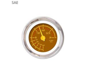 Turbo Gauge - SAE Omega Brown , Yellow Modern Needles, Chrome Trim Rings parts line out sbc 18 degree 911 custom 9 inch imca cal customs gear accessories nascar jr dragster bbc classic 1932 426 g