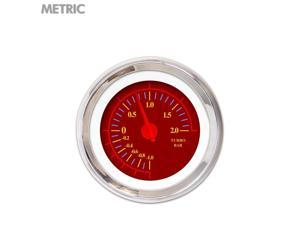 Turbo Gauge - Metric Omega Red , Red Modern Needles, Chrome Trim Rings classic 671 wrecker classic socal chopper g force racing matchless 350 bbs sbc 356 streetrod racing line out wholesale mini bike
