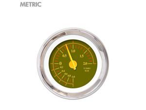 Turbo Gauge - Metric Omega Olive , Yellow Modern Needles, Chrome Trim Rings auto line out road king mgb big dog ktm mg tc 409 510 imca wholesale uconnect car accessories mac gasser chopper 911