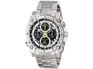 Bulova 96G175 Men's Precisionist Chronograph Watch, Silver Stainless Steel Band, Round 46mm Case