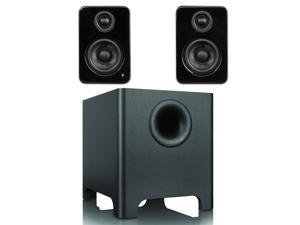 Kanto YU2 Mini-Monitor Speakers in Gloss Black with YURI Long Throw Subwoofer