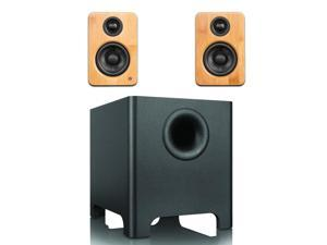 Kanto YU2 Mini-Monitor Speakers in Bamboo with YURI Long Throw Subwoofer