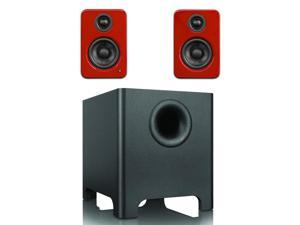 Kanto YU2 Mini-Monitor Speakers in Gloss Red with YURI Long Throw Subwoofer