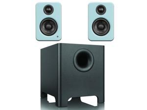 Kanto YU2 Mini-Monitor Speakers in Gloss Teal with YURI Long Throw Subwoofer