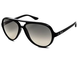 Ray Ban RB4125 Cats 5000 Classic Aviator Sunglasses - Black Frame/Light Grey Lens