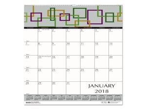 House of Doolittle 3491 100% Recycled Geometric Wall Calendar, 12 X 12, 2018