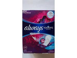 Always, Radiant Pantiliners, Regular, Unscented, 48 Count