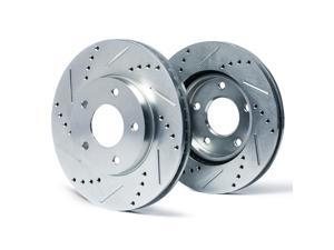 Front Silver Slotted & Cross Drilled Rotors KT001411 | Fits: 2000 00 2001 01 Acura Integra Type R Models