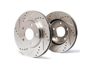Rear Premium Slotted & Drilled Rotors SY071632 | Fits: 2002 02 2003 03 2004 04 2005 05 Mercury Sable