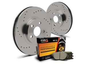 Rear Premium Cross Drilled Rotors and Ceramic Pads Brake Kit KT075722 | Fits: 2005 05 Buick Park Avenue Ultra&#59; Non Base Models