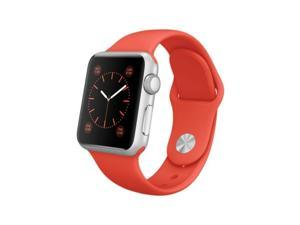 Apple - Apple Watch Sport 38mm Silver Aluminum Case - Orange Sport Band Smartwatch Smart for iPhone MLCF2LL/A