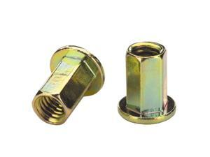 AES25H145ZYR, RIVETNUT, 1/4-20  (.085-.145 GR) Full-Hex Body, LG FLNG HD, Steel, Zinc YLW (100 PK)