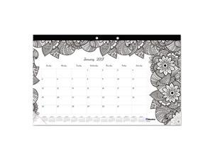 Blueline C2917001 Doodleplan Desk Calendar W/Coloring Pages, 17 3/4 X 10 7/8, 2017