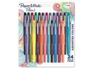 Paper Mate 1978998 Point Guard Flair Bullet Point Stick Pen, Assorted Colors, .7Mm, 24/Set