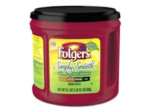 Folgers 2550020513CT Coffee, Simply Smooth, 31.1 Oz Canister, 6/Carton