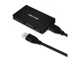 Wavlink USB3.0 Memory Card Reader Flash Adapter Super Speed 5Gbps 4-Slot Multi-in-1 with Detachable