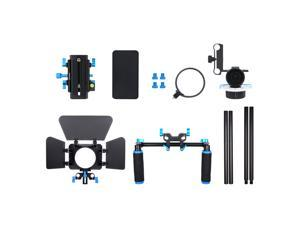 Neewer Aluminum Alloy Film Movie Video Making System Kit for Canon Nikon Sony and Other DSLR Cameras Video Camcorder, Includes: (1)Shoulder Rig, (1) Follow Focus and (1)Matte Box (Black+Blue)