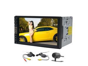 Free Wireless Rear Camera+Linux OS Double Din Autoradio GPS Car Stereo MP5 Player In Dash Navigation 7 inch Touch Screen Car Radio Audio MP3 Player Support AM/FM/USB/TF/RCA/Mirror Link Camera output+