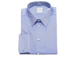 Armani Collezioni Men Slim Fit Cotton Dress Shirt Blue