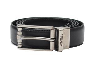 Versace Collection Men's Stainless Steel Buckle Saffiano Leather Reversible Belt Black