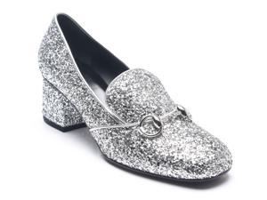 Gucci Women's Glitter Horsebit Penny Loafers Silver Black