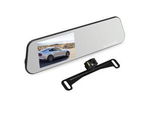 AUTO-VOX M6 4.5'' IPS Touch Screen Full HD 1080P Mirror Dash Cam with Rear view Camera IP 68 Waterproof Backup Camera License Plate with LED Superior Night Vision