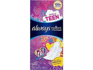 Always Radiant Totally Teen Pads With FlexFoam Flexi-Wings Flexible Wings, 28 Count, 2 Pack. (Includ