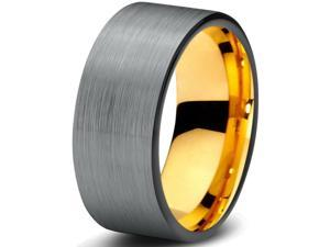 Tungsten Wedding Band Ring 9mm for Men Women Black & 18K Yellow Gold Plated Pipe Cut Brushed Polished Lifetime Guarantee