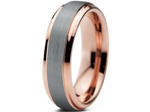 Tungsten Wedding Band Ring 6mm for Men Women Comfort Fit 18K Rose Gold Plated Plated Beveled Edge Brushed Polished Lifetime Guarantee