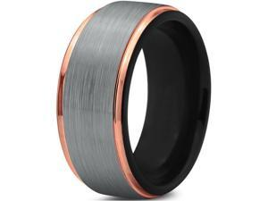 Tungsten Wedding Band Ring 10mm for Men Women Black & 18K Rose Gold Plated Stepped Edge Polished Lifetime Guarantee
